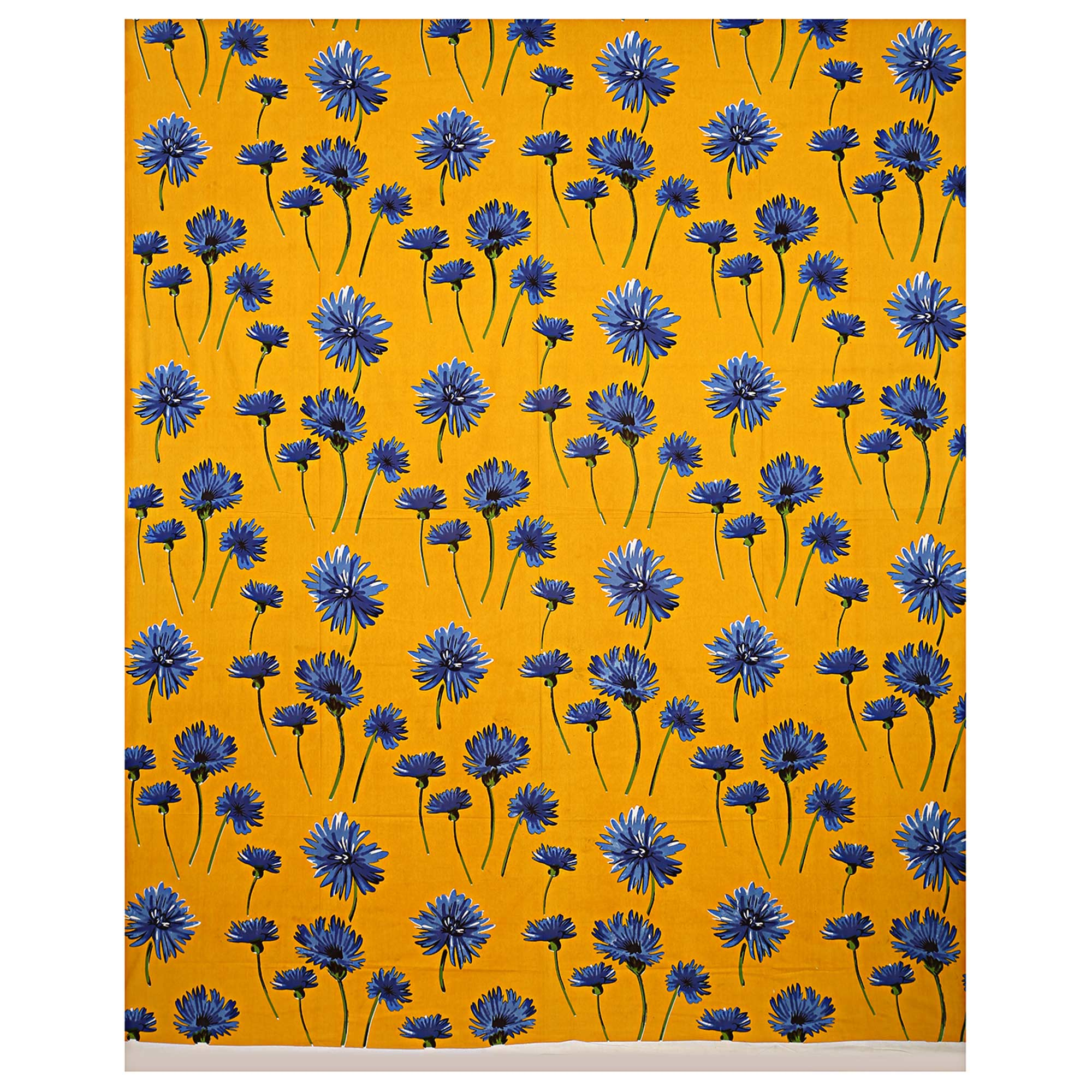 Yellow Colored Sun Flower Cotton Double Bed Sheet With 2 Pillow Cover