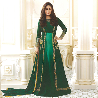 Gorgeous Green Designer Embroidered Georgette & Art Silk Abaya Style Anarkali Suit