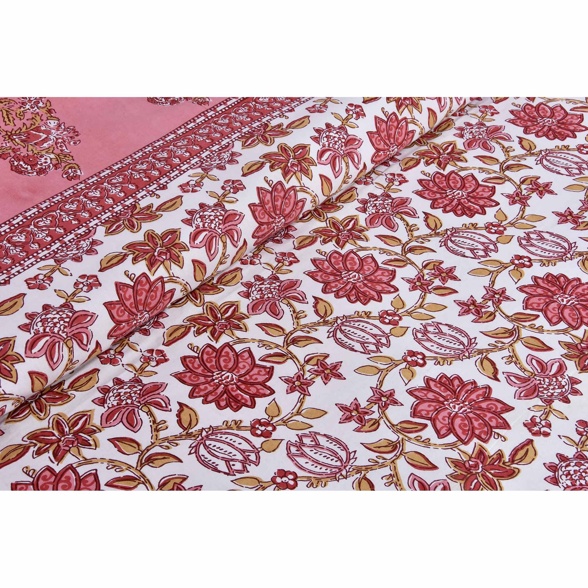 Peach Colored Floral Carnival Cotton Double Bed Sheet With 2 Pillow Cover
