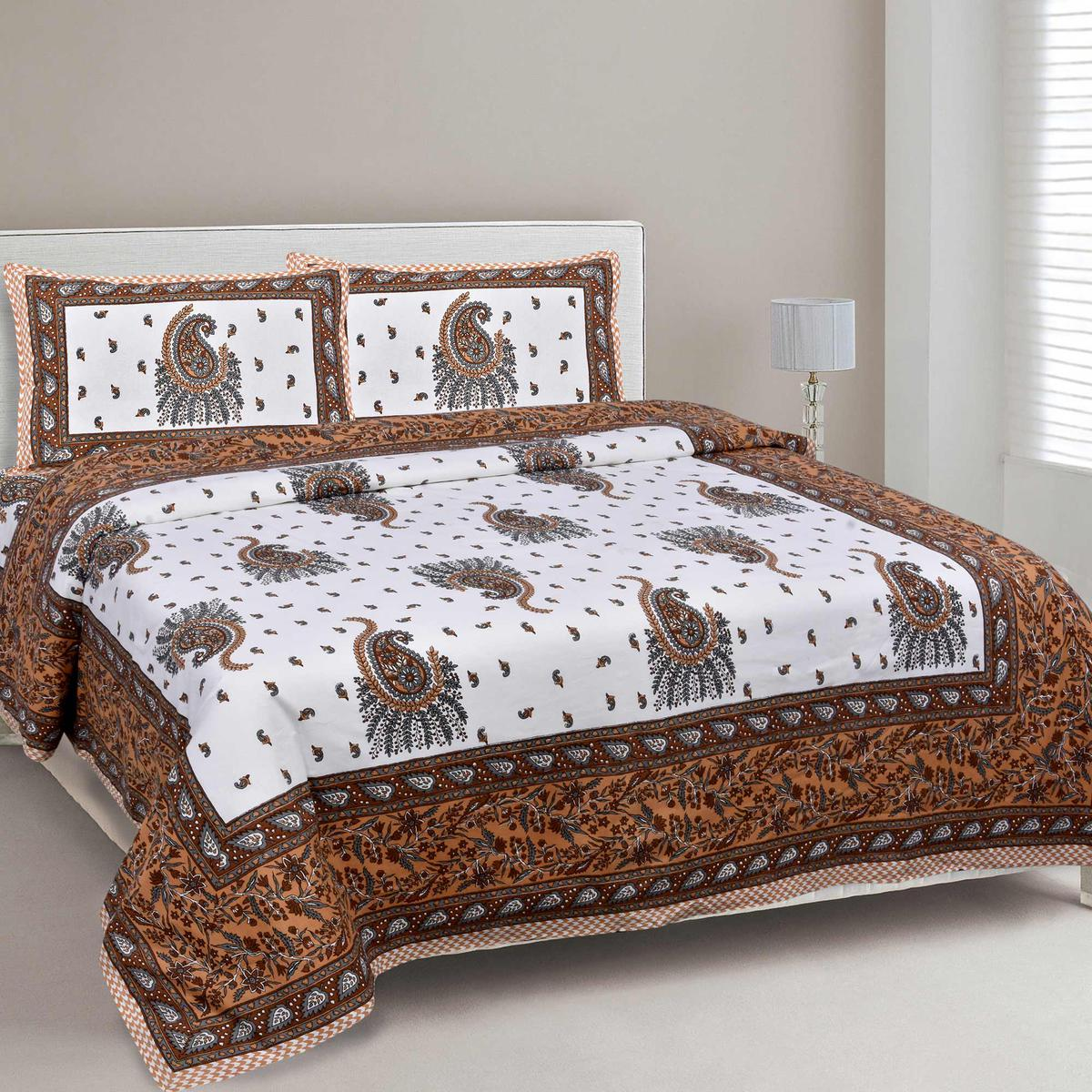 Orange Colored Pageant Paisley Cotton Double Bed Sheet With 2 Pillow Cover