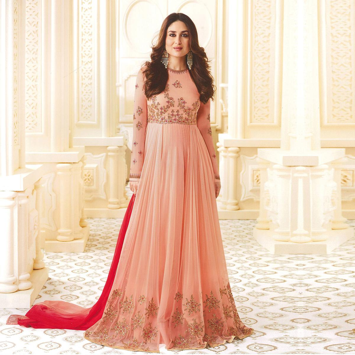 Precious Peach Designer Embroidered Georgette & Art Silk Anarkali Suit