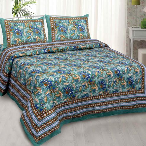 Green Colored Floral Garth Cotton Double Bed Sheet With 2 Pillow Cover