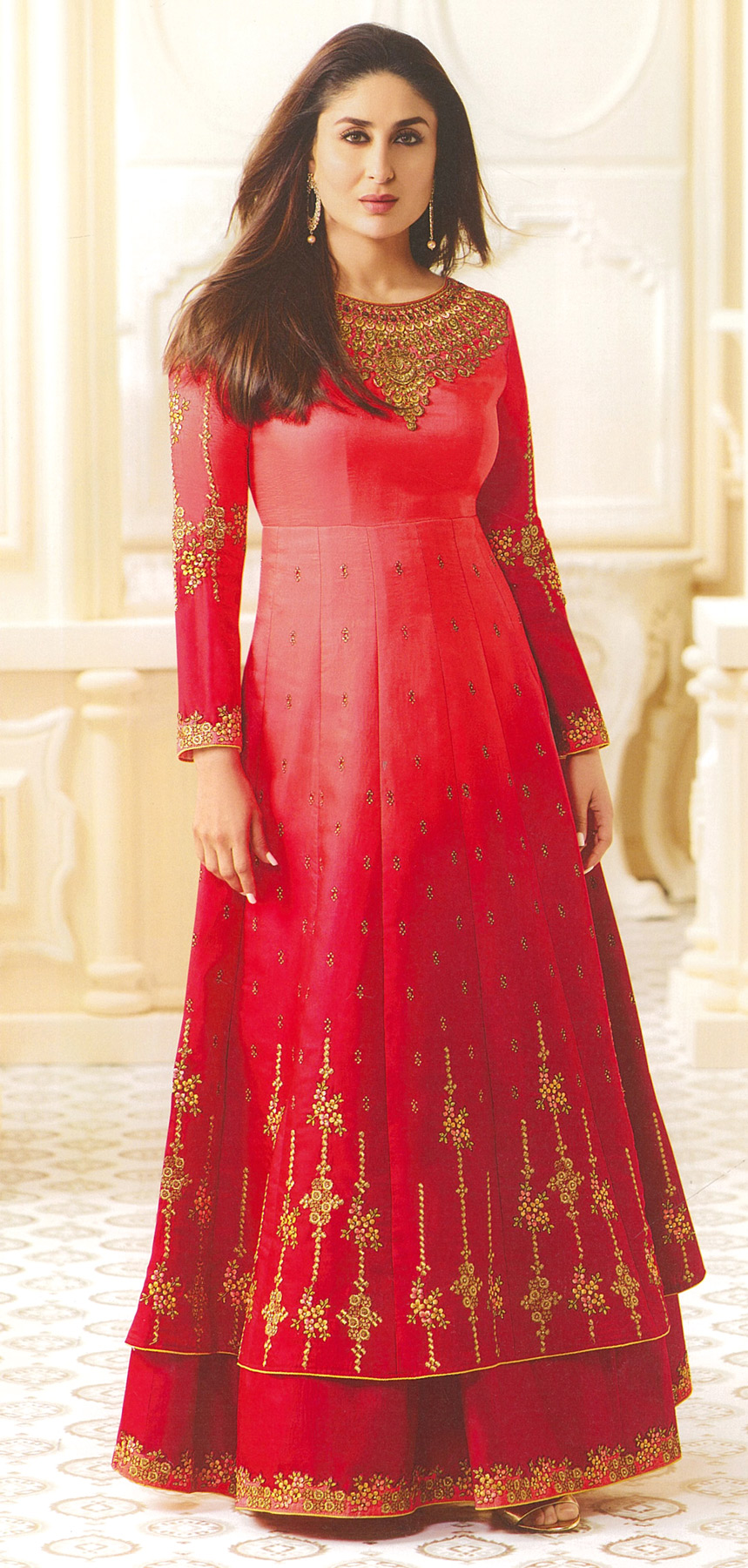Imperial Red Designer Embroidered Georgette Abaya Style Georgette Abaya Style Anarkali Suit