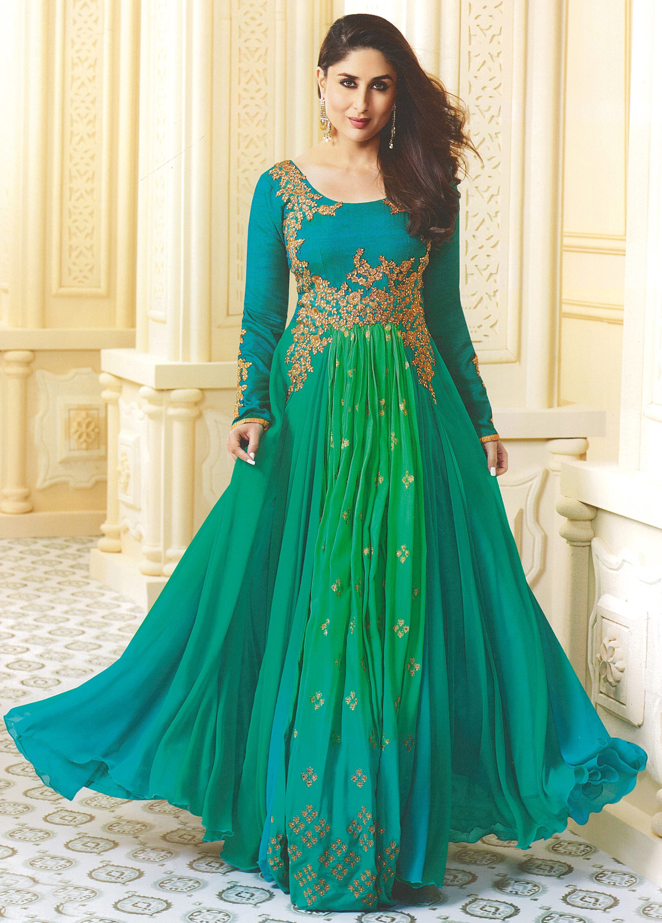 Dazzling Aqua Blue-Green Designer Embroidered Georgette & Art Silk Abaya Style Anarkali Suit
