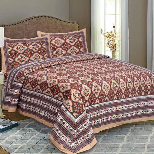 Brown Colored Kite Charisma Cotton Double Bed Sheet With 2 Pillow Cover