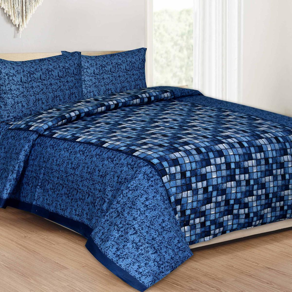 Blue Colored Boxy Beauty Cotton Queen Size Bed Sheet With 2 Pillow Cover