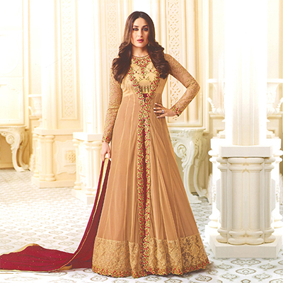 Dignified Beige-Maroon Designer Embroidered Georgette Abaya Style Anarkali Suit