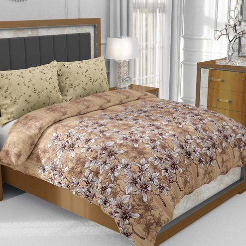 Brown Colored Floral Manjari Cotton King Size Bed Sheet With 2 Pillow Cover