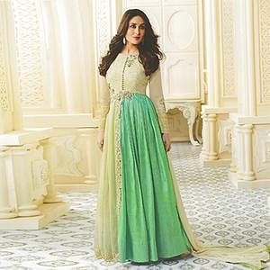 Marvelous Cream-Green Designer Embroidered Georgette Anarkali Suit