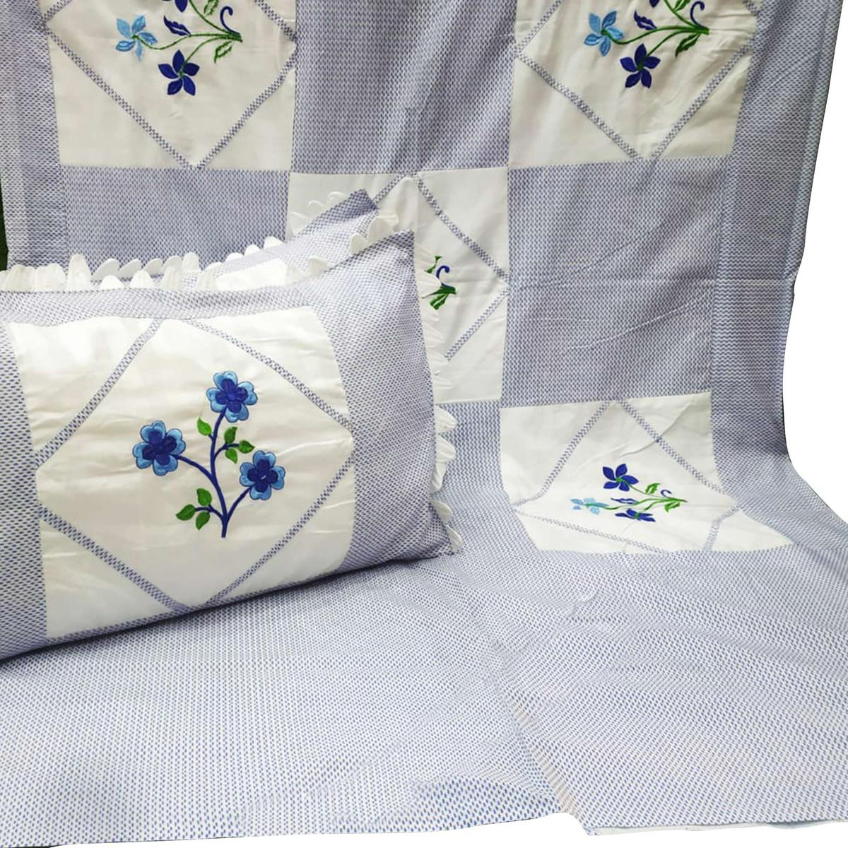 Adirav - Exotic Blue Colored Embroidered-Patchwork Cotton Bedsheet With 2 Pillow Cover