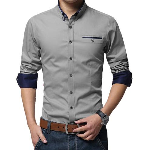 Impressive Grey Colored Casual Wear Pure Cotton Shirt
