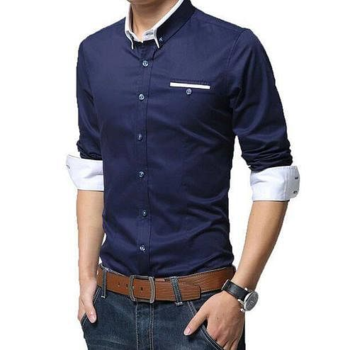 Mesmerising Navy Blue Colored Casual Wear Pure Cotton Shirt