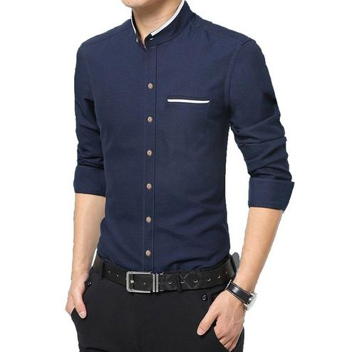 Pleasant Navy Blue Colored Casual Wear Pure Cotton Shirt