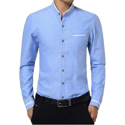 Opulent Sky Blue Colored Casual Wear Pure Cotton Shirt