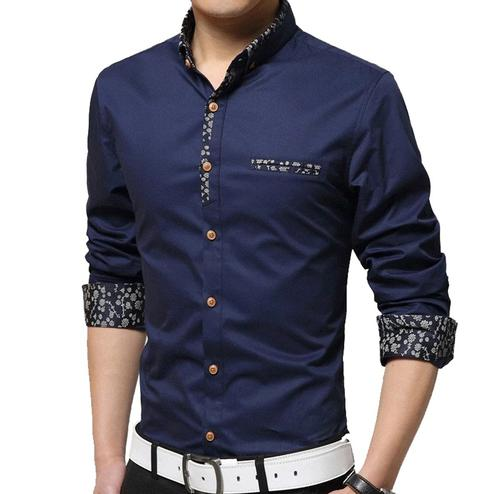 Impressive Navy Blue Colored Casual Wear Pure Cotton Shirt