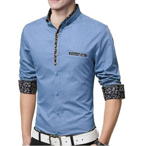 Breathtaking Sky Blue Colored Casual Wear Pure Cotton Shirt