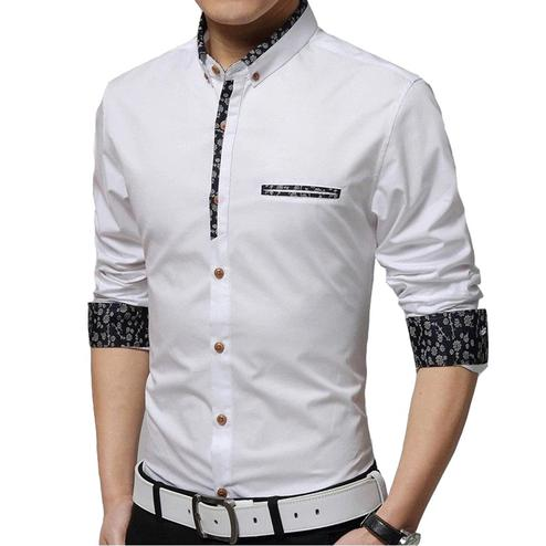 Ethnic White Colored Casual Wear Pure Cotton Shirt