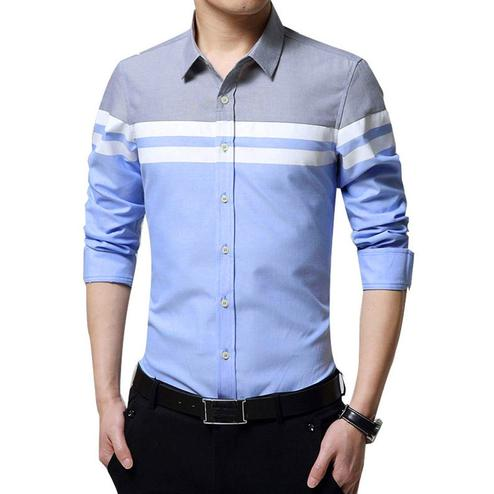 Glowing Sky Blue Colored Casual Wear Pure Cotton Shirt