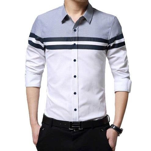 Exceptional White Colored Casual Wear Pure Cotton Shirt