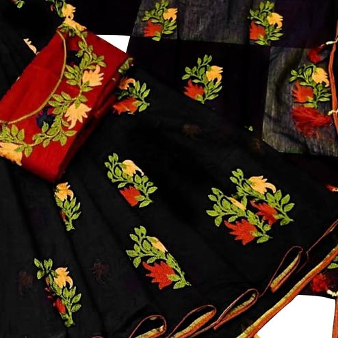 Adorable Black Colored Partywear Embroidered Chanderi Cotton Saree