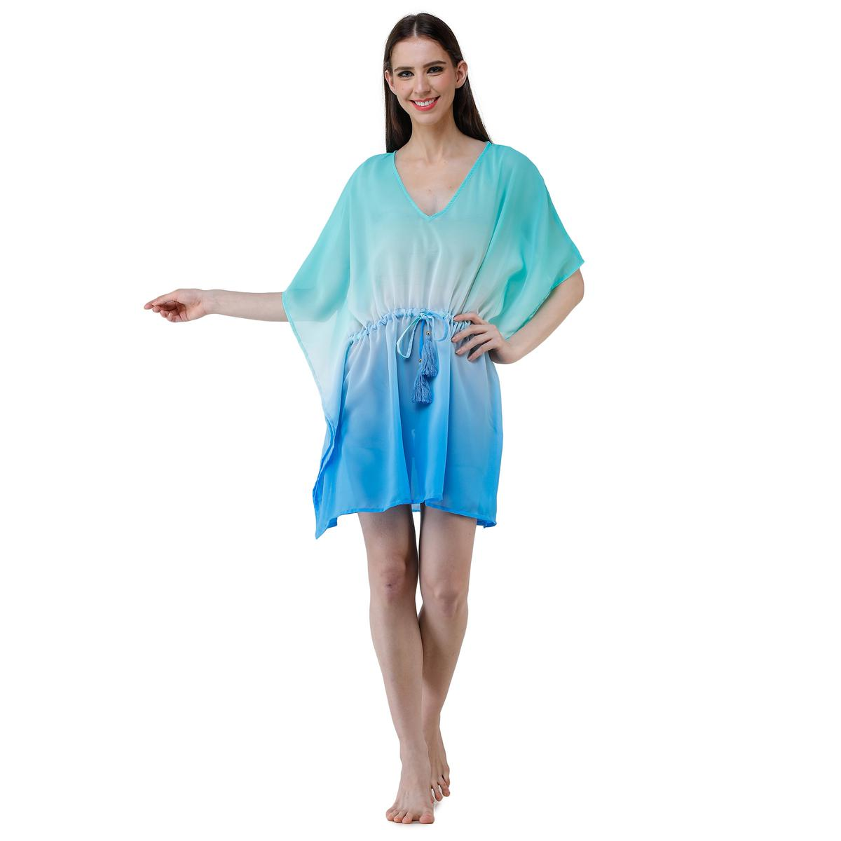 Adirav - Green-Blue Colored Casual Wear Embroidered Polyester Kaftan