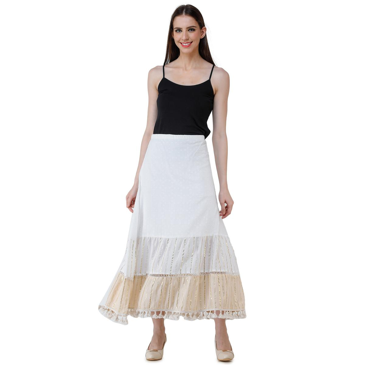 Adirav - Cream Colored Casual Wear Thread Work Cotton-Polyester Skirt