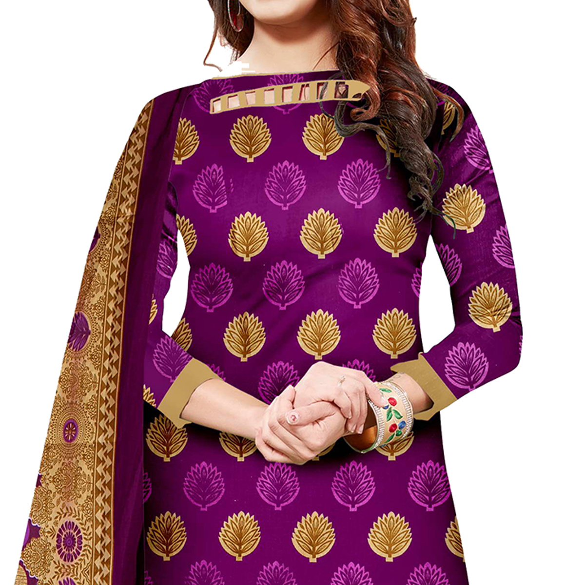Classy Purple Colored Casual Wear Printed Cotton Dress Material