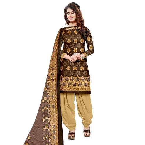 Entrancing Brown Colored Casual Wear Printed Cotton Dress Material