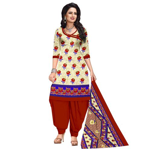 Adorning Cream Colored Casual Wear Printed Cotton Dress Material