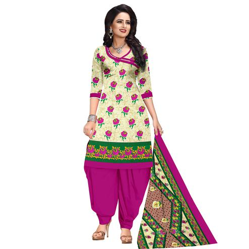 Exclusive Cream Colored Casual Wear Printed Cotton Dress Material
