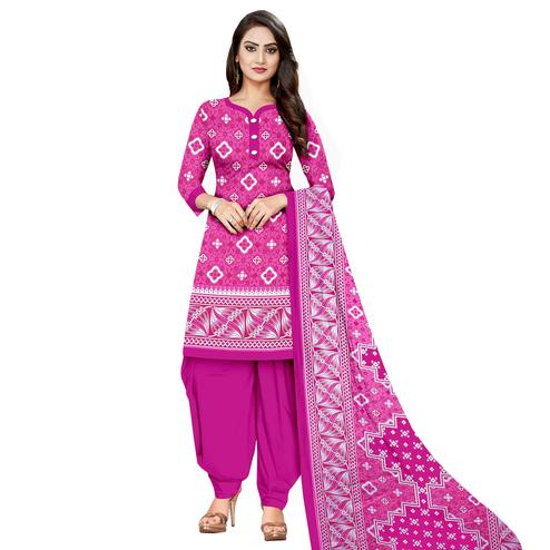 Elegant Pink Colored Casual Wear Printed Cotton Dress Material