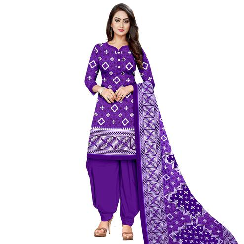 Pleasant Purple Colored Casual Wear Printed Cotton Dress Material