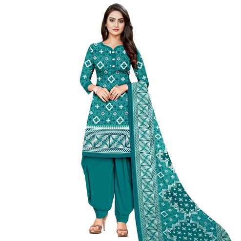 Opulent Sea Blue Colored Casual Wear Printed Cotton Dress Material