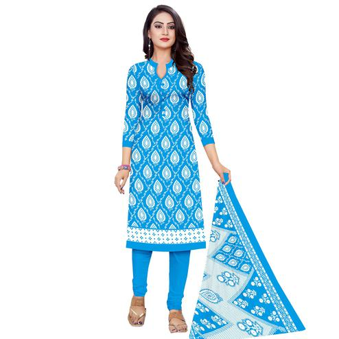 Energetic Blue Colored Casual Wear Printed Cotton Dress Material