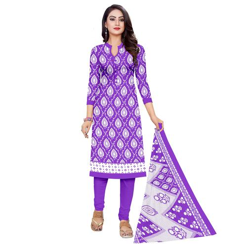 Glowing Purple Colored Casual Wear Printed Cotton Dress Material
