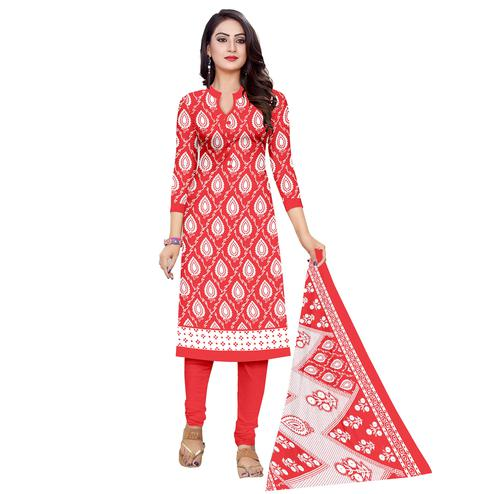 Gleaming Red Colored Casual Wear Printed Cotton Dress Material