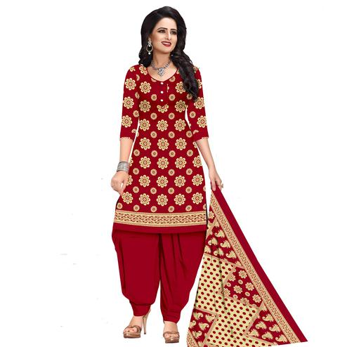 Unique Red Colored Casual Wear Printed Cotton Dress Material