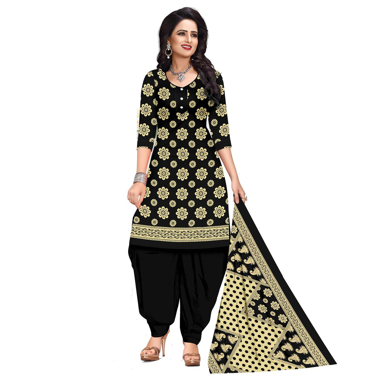 Demanding Black Colored Casual Wear Printed Cotton Dress Material