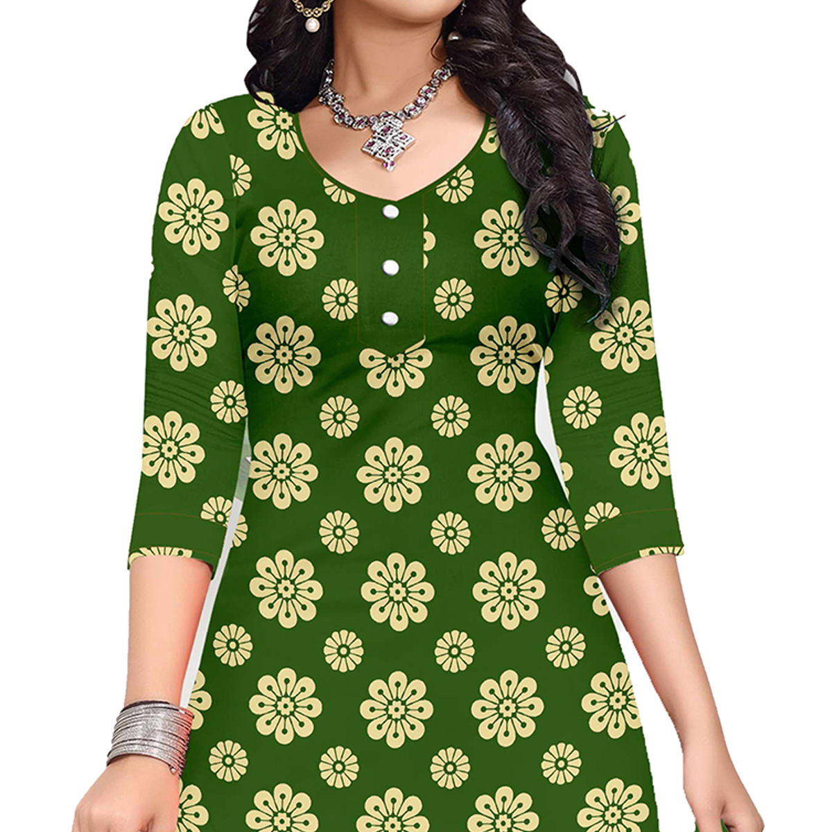 Refreshing Green Colored Casual Wear Printed Cotton Dress Material