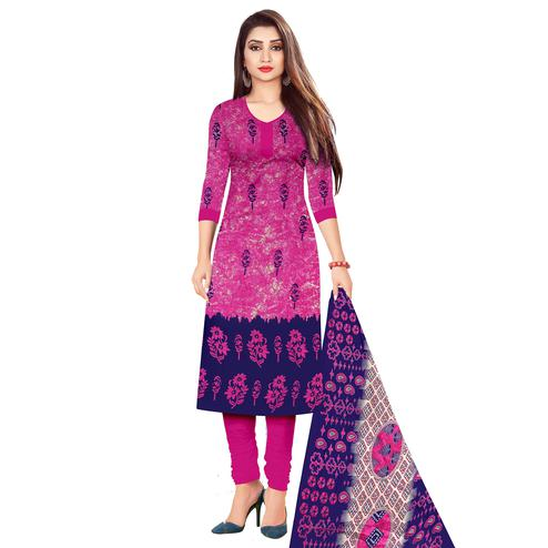 Magnetic Pink Colored Casual Wear Printed Cotton Dress Material