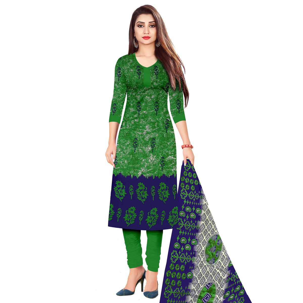 Hypnotic Green Colored Casual Wear Printed Cotton Dress Material