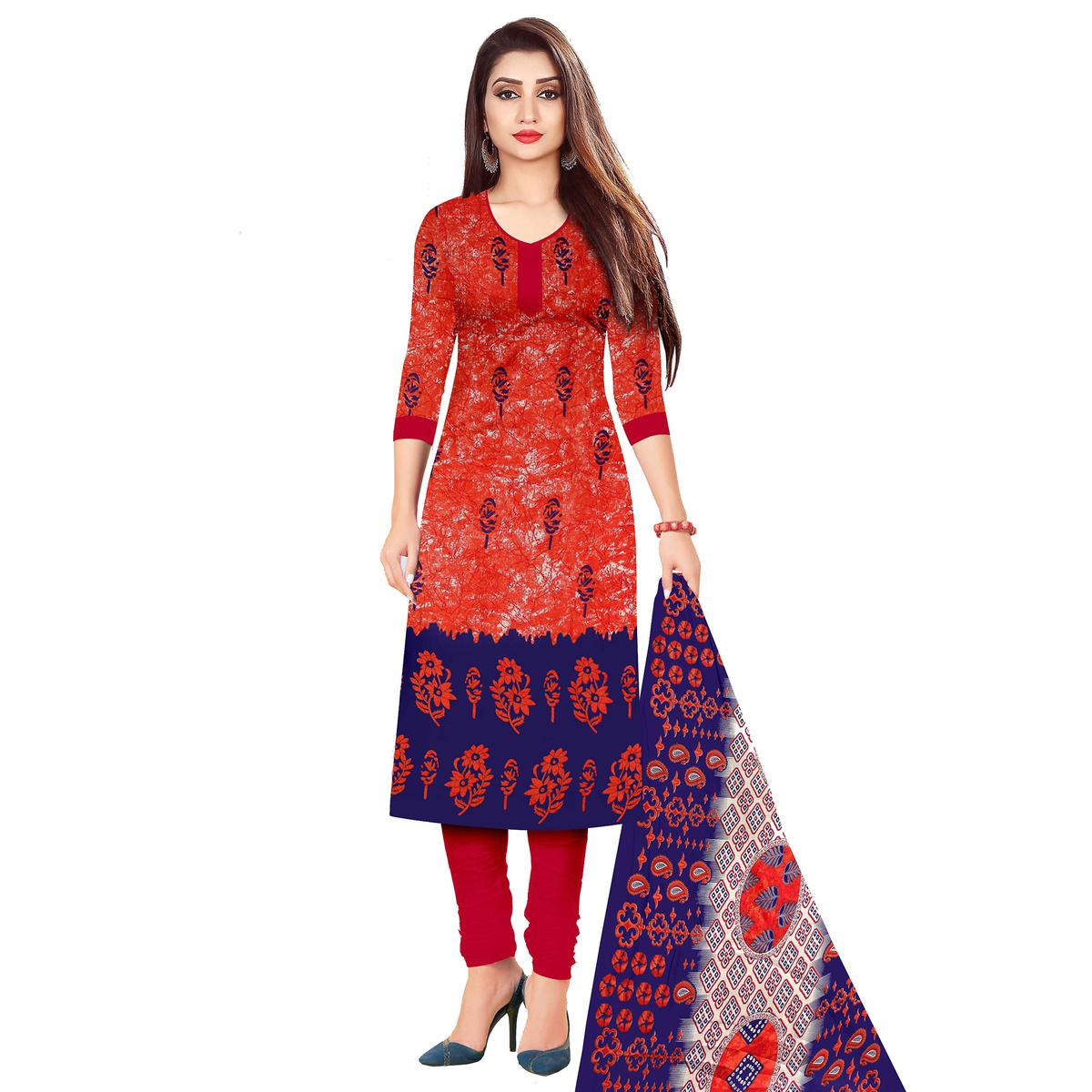 Flattering Red Colored Casual Wear Printed Cotton Dress Material