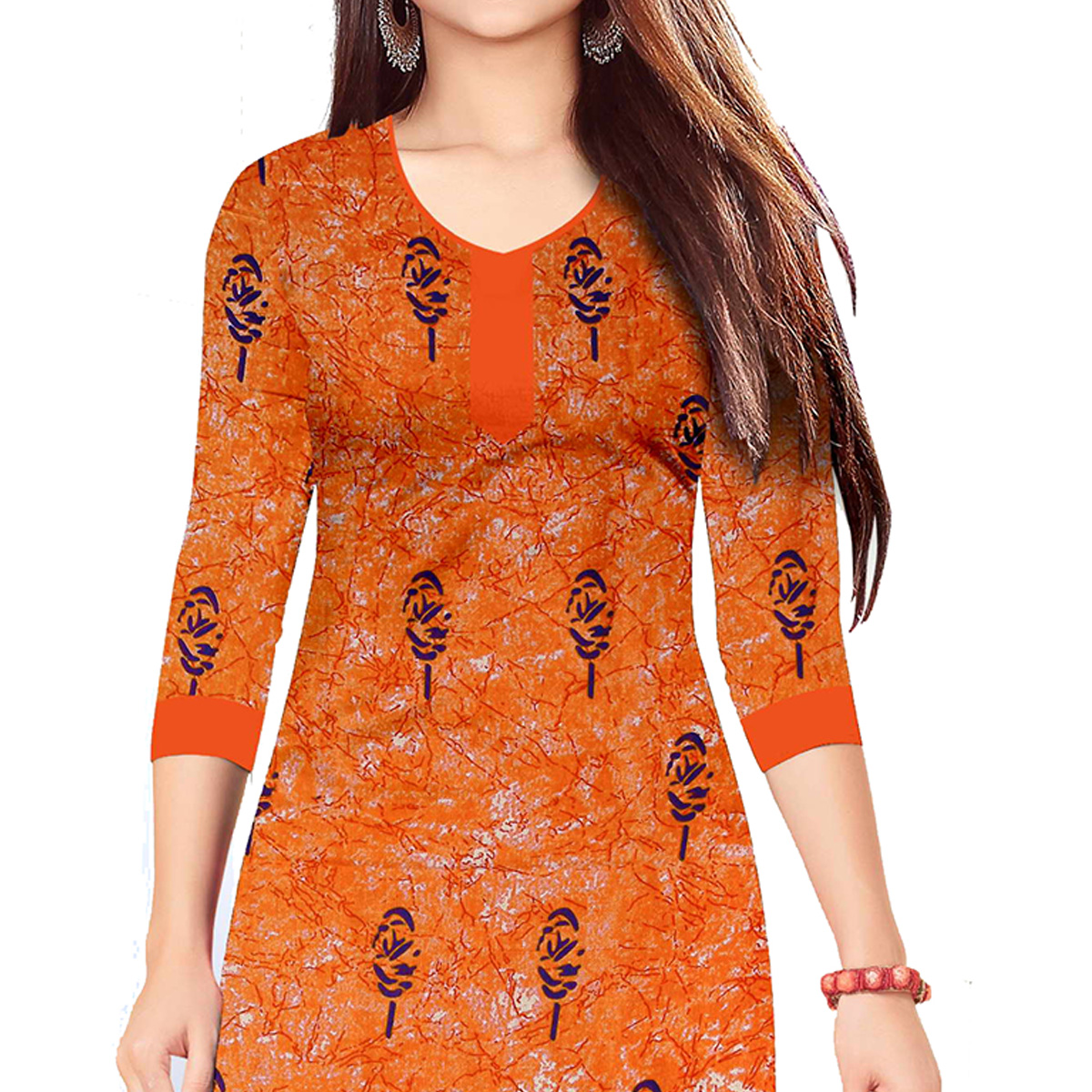 Excellent Orange Colored Casual Wear Printed Cotton Dress Material