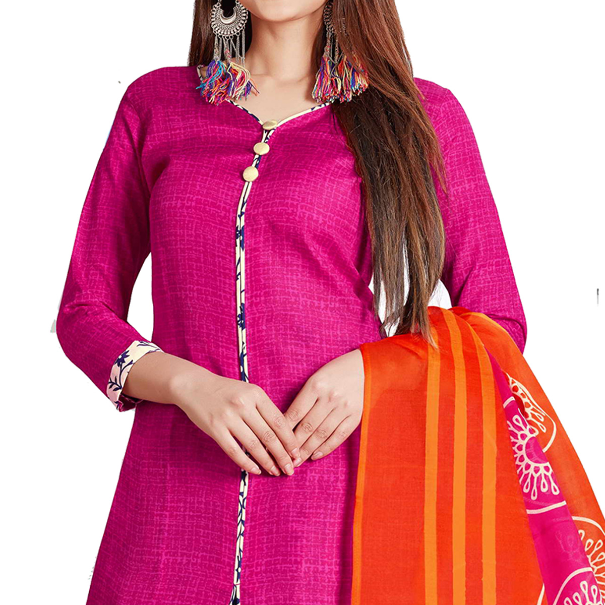 Preferable Pink Colored Casual Wear Printed Cotton Dress Material