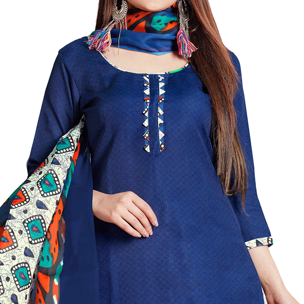 Marvellous Blue Colored Casual Wear Printed Cotton Dress Material