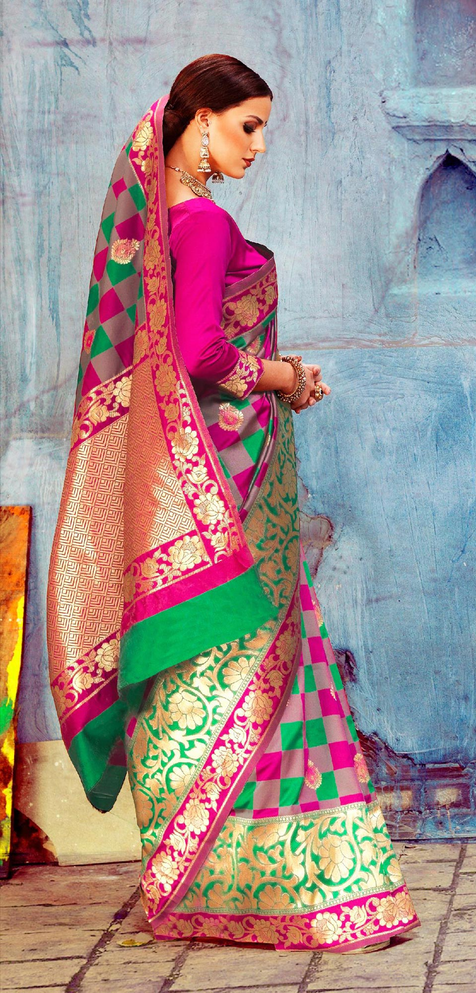 Gorgeous Multi Colored Festive Woven Silk Saree