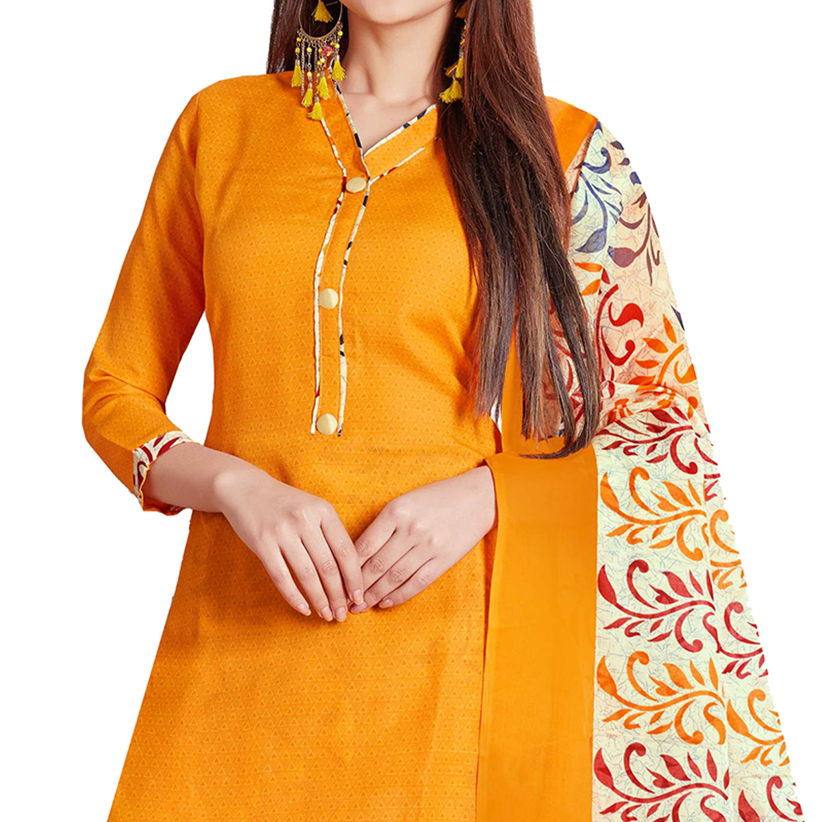 Pretty Yellow Colored Casual Wear Printed Cotton Dress Material