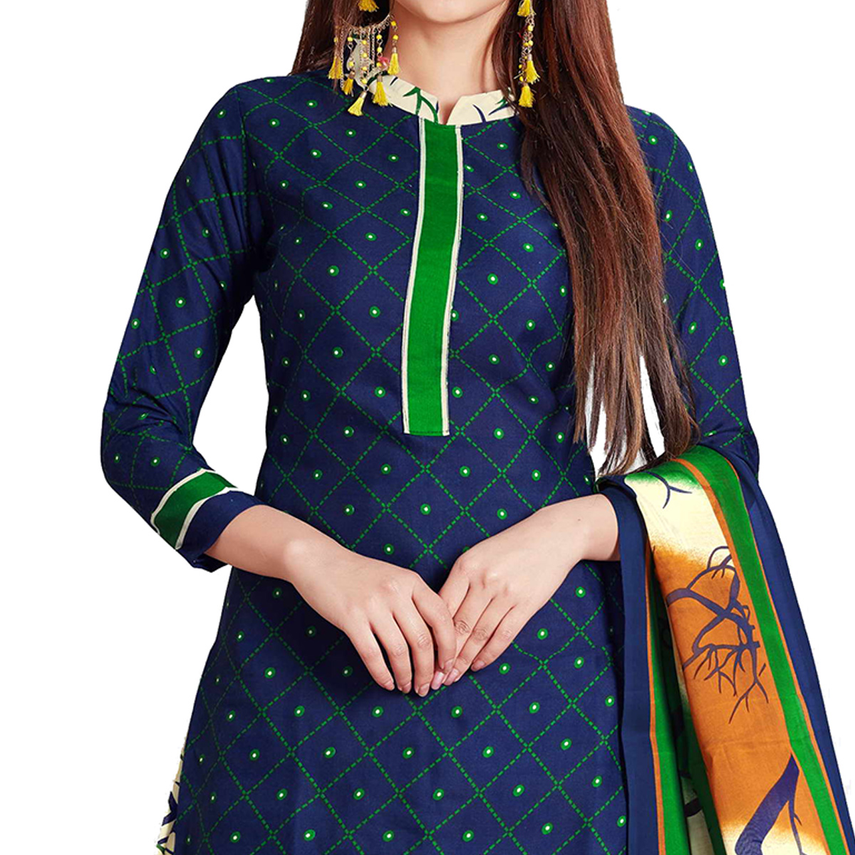 Alluring Navy Blue Colored Casual Wear Printed Cotton Dress Material