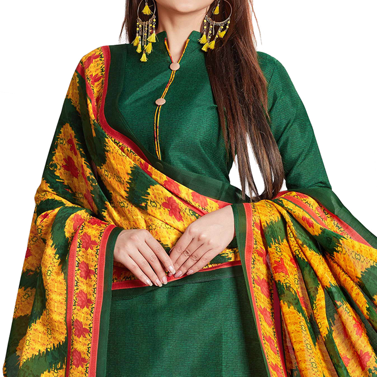 Sensational Green Colored Casual Wear Printed Cotton Dress Material