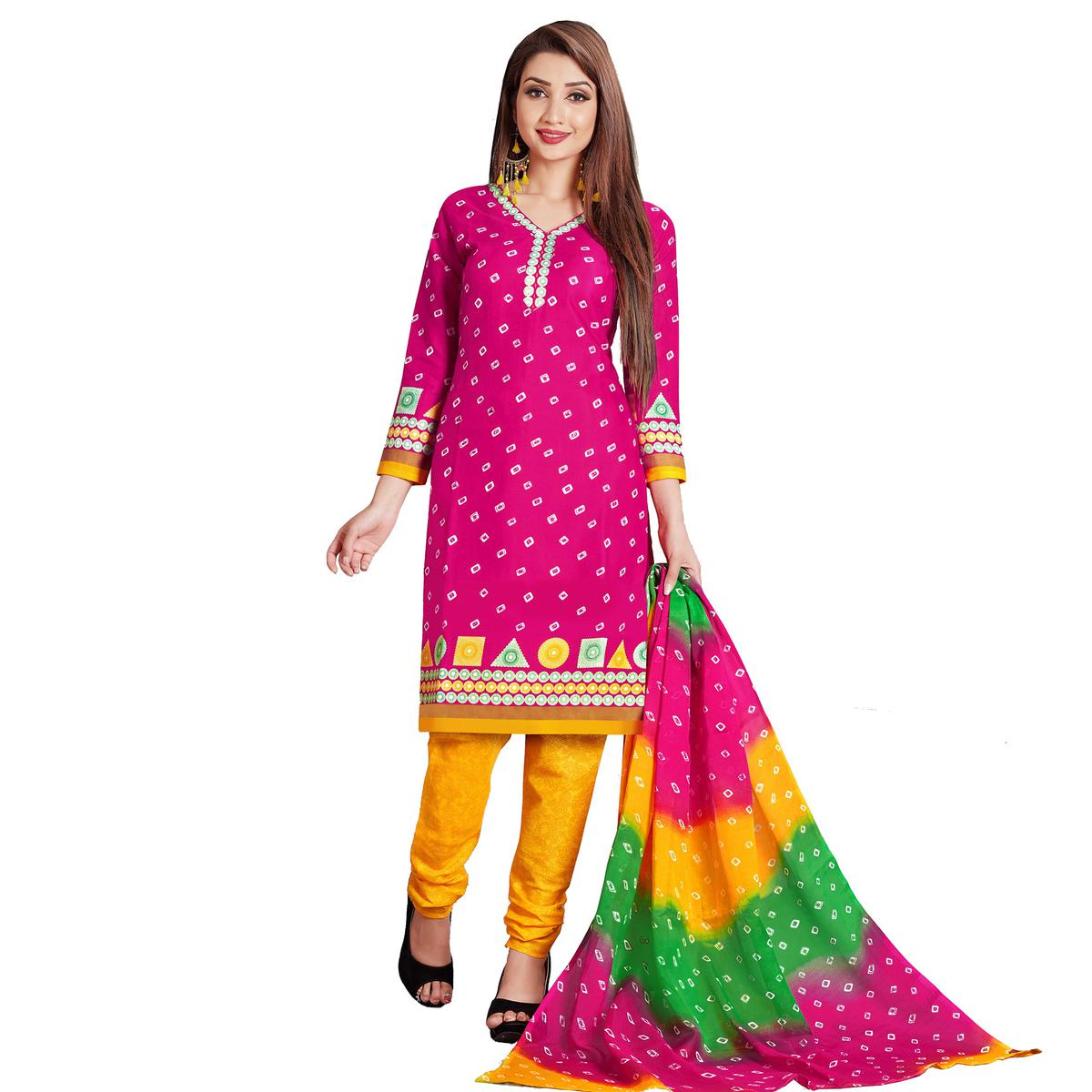 Pleasance Pink Colored Casual Wear Printed Cotton Dress Material